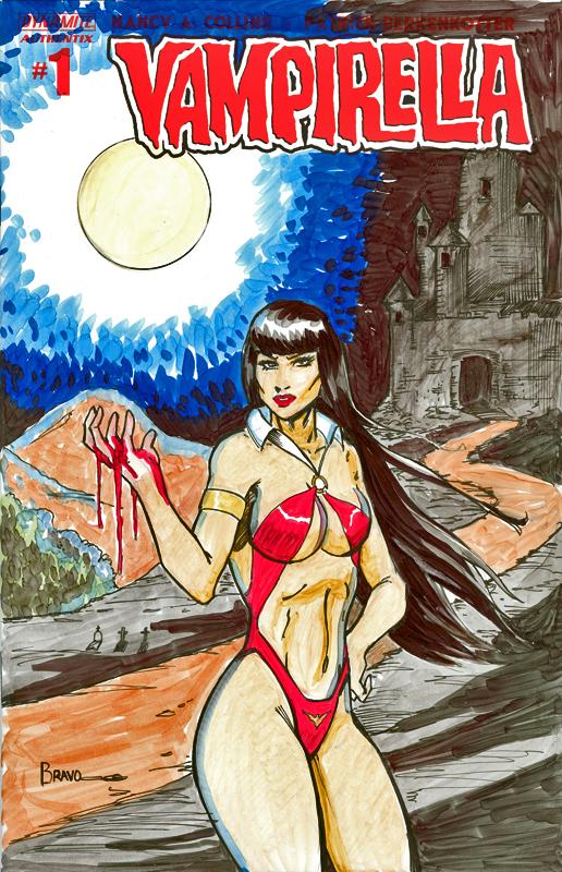 Vampirella Original Sketch Cover by Metal Hand Dynamite Authentix #1